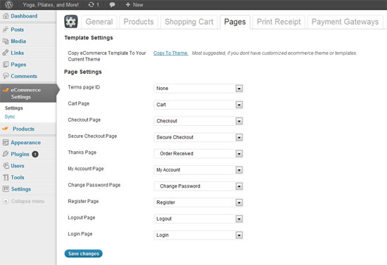 eCommerce Page Settings
