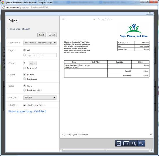 eCommerce plugin: Print Receipt Settings - Apptivo