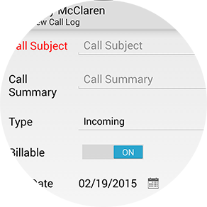 CRM mobile call log