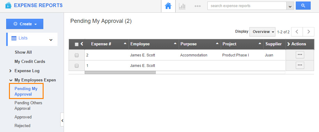 Approval Flows: Expense Reports App - Apptivo