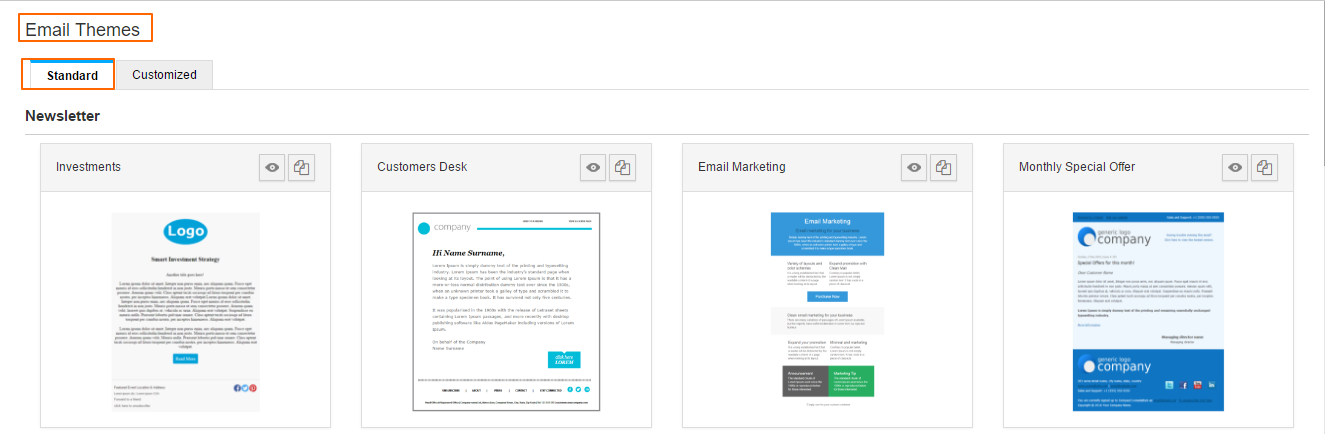 Email Themes & Templates Settings in Campaigns App - Apptivo