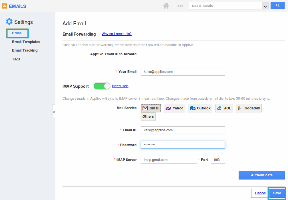 specify mail details